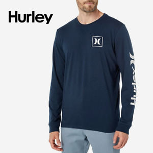 Hurley One & Only Icon Long Sleeve Cotton Shirt Navy Blue size L XL