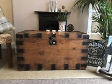 Stunning  Antique Victorian Vintage Old Pine Chest / Wooden Trunk / Blanket Box