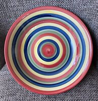 """Swirl Hand Painted Collection Multi Color Stripe Serving Bowl LARGE 12 1/8"""" GUC"""