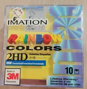 NEW SEALED Imation Rainbow Colors 2HD Floppy Disks 10 Pack *RARE*
