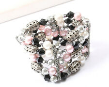 Vintage 1960s Strech Silver Tone Bracelet with Faux Pearls