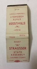 Vintage Matchbook Cover Matchcover Vote Re-Elect Al Strausser State Assembly