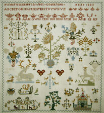 1983 DUTCH COMPLETED CROSS STITCH SAMPLER ANTIQUE STYLE REPRODUCTION NEEDLEWORK