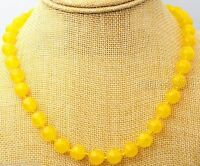 "Fashion Women's 12mm Natural Yellow Jade Round Gemstone Beads Necklace 18"" AAA"