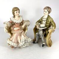 Vtg Lenwile Ardalt Pair Colonial Victoria Porcelain Lace Figurines 7061 Japan