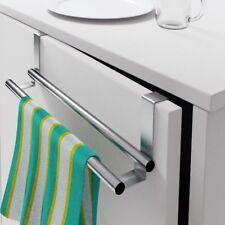 Double Towel Bar Over the Door Cabinet Kitchen Bathroom Holder Stainless Steel