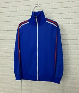 Vintage 80s Adidas CSSR Czechoslovakia Retro Football Jacket Navy Blue Size 7