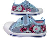 Girls Canvas Denim Pump Chatterbox Trainers Shoes Casual Summer Footwear