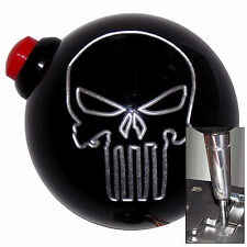 Black Punisher Skull 12V Button shift knob for Dodge Chrys auto stk w/ adapter