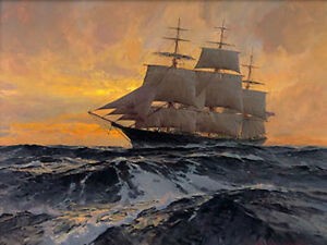 """Christopher BLOSSOM """" Witch of the Wave """" Giclee Canvas Ocean Boat Coastal"""