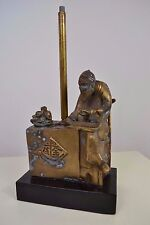 VINTAGE BRASS CHINESE OLD MAN COUNTING ABACUS FIGURE FIGURINE FORMER LAMP BASE
