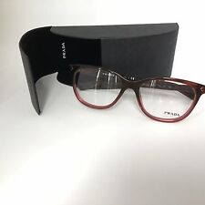 New 100% Authentic PRADA Eyeglasse Frame VPR 14R TWC-101 Red Transparent 52mm