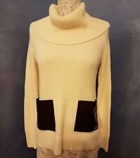 Michael Kors NWT Women's Cream Basics Sweater Patch Pockets Small High Low Hem