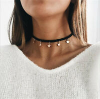 1PC Women Leather Star Pendant Simple Choker Necklace Black Chain Jewelry