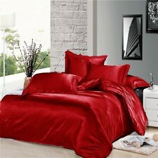7 Piece Red Silky Satin Duvet Cover Sheet Zipper Closure Set King Size