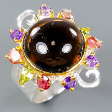 Fine Art SET Natural Smoky Quartz 925 Sterling Silver Ring Size 8.5/R97265