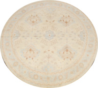 Vegetable Dye Muted 8 ft Round Authentic Oushak Turkish Area Rug Hand-knotted