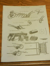 1817 Antique Print/AGRICULTURE////TYPES OF PLOUGHS