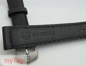 Genuine TAG Heuer Mens Cushioned Black Leather  Strap with  Tang Buckle 18mm