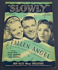 Vtg Sheet Music 1945 Slowly By Raksin/Goell Fallen Angel Alice Faye Dana Andrews