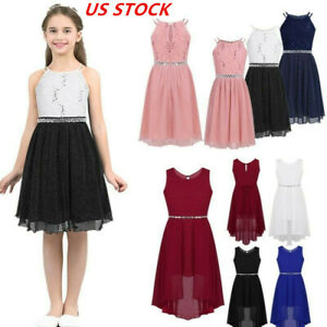 US Kids Girls Sequins Dress Bridesmaid Dresses Princess Birthday Party Ball Gown