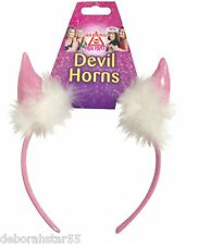Devils Horns Womens Girls Pink Hen Night Headband Halloween Accessories