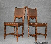 Pair of Vintage Spanish Style Embossed Leather w Clavos Accent Chairs by Gassman