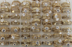 42pcs Wholesale Lots 2 In 1 Gold P Ring Clear Rhinestone CZ Lady's Rings EH330