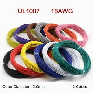 18AWG Flaxible Stranded Electronic Wire UL1007 PVC Cable O.D 2.0mm 12-Colors