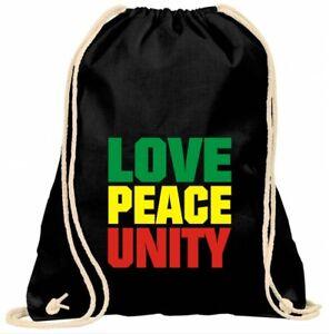 Turnbeutel Backpack One Love Reggae Bob Rasta Rastafari Marley Gymsack Tasche