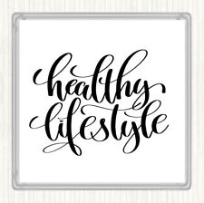 White Black Healthy Lifestyle Quote Drinks Mat Coaster