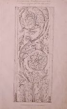 1825 ETCHING PRINT ANTIQUE ARABESQUE PILASTER MEDICI GARDENS ROME TATHAM