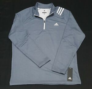 Adidas Mens Golf French Terry Pullover 1/4 Zip Sweater Jacket Grey- ADVF20R786