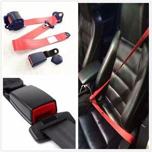 1x3Point Seat Belt Lap&Diagonal Belt Red Polyester Adjustable Safety  Seatbelts