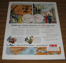1955 Vintage Ad TWA Trans World Airlines Vacation Via Circle Trips