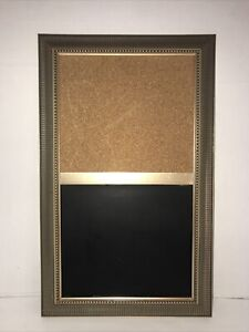 Chalkboard Cork Message Board Victorian Gold Gilt Framed 21x13 Wall Hanging