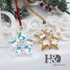 2pcs Hanging Crystal Annual Edition 2019 Christmas Star Snowflake Ornament Large