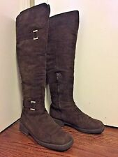 BALDININI Brown Suede Boots Shearling Lining Size 7 Made in Italy