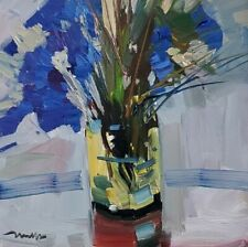JOSE TRUJILLO Oil Painting 12X12 BLUE FLOWERS STILL LIFE COLLECTIBLE FINE ART