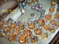 VINTAGE AUSTRIAN CHAMPAGNE AURORA BOREALIS MULTI STRAND CRYSTAL NECKLACE
