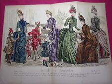 Double planche Journal des Demoiselles novembre 1887 Mode de Paris 35x27 cm