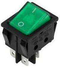 GREEN 240 VOLT ILLUMINATED ROCKER SWITCH 16 AMP
