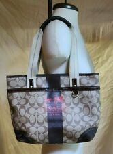 Coach Heritage Monogram Signature Brown & Tan Tote Bag, Handbag, Purse, No 11349