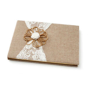 DAVID TUTERA™ BURLAP RUSTIC GUEST BOOK AND PEN WITH LACE AND JUTE FLOWER