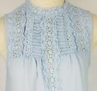Mine Womens Medium Blue Crochet Front Sleeveless Lightweight Blouse Shirt Top