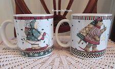 2 Debbie Mumm Sakura Sledding Characters Stoneware Coffee Tea Cups Mugs