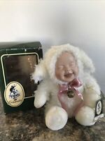 RARE Geppeddo Cuddle Kids Lacy Lamb Plush Animal With Porcelain Face