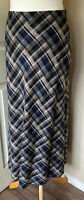 Hobbs 100% Pur New Wool Maxi Skirt Lined Blowns Checked Uk 10