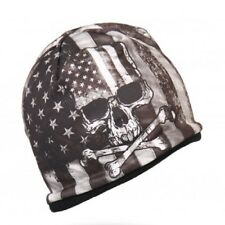 Black Grey Distressed USA American Flag Biker Stocking Skull Cap Beanie Hat