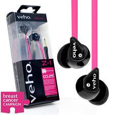 VEHO EARBUDS IN EAR HEADPHONES FLAT PINK FLEX ANTI TANGLE CORD / MP3 PHONE IPOD